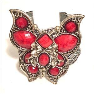 SilverTone Braided Butterfly Cuff Bracelet